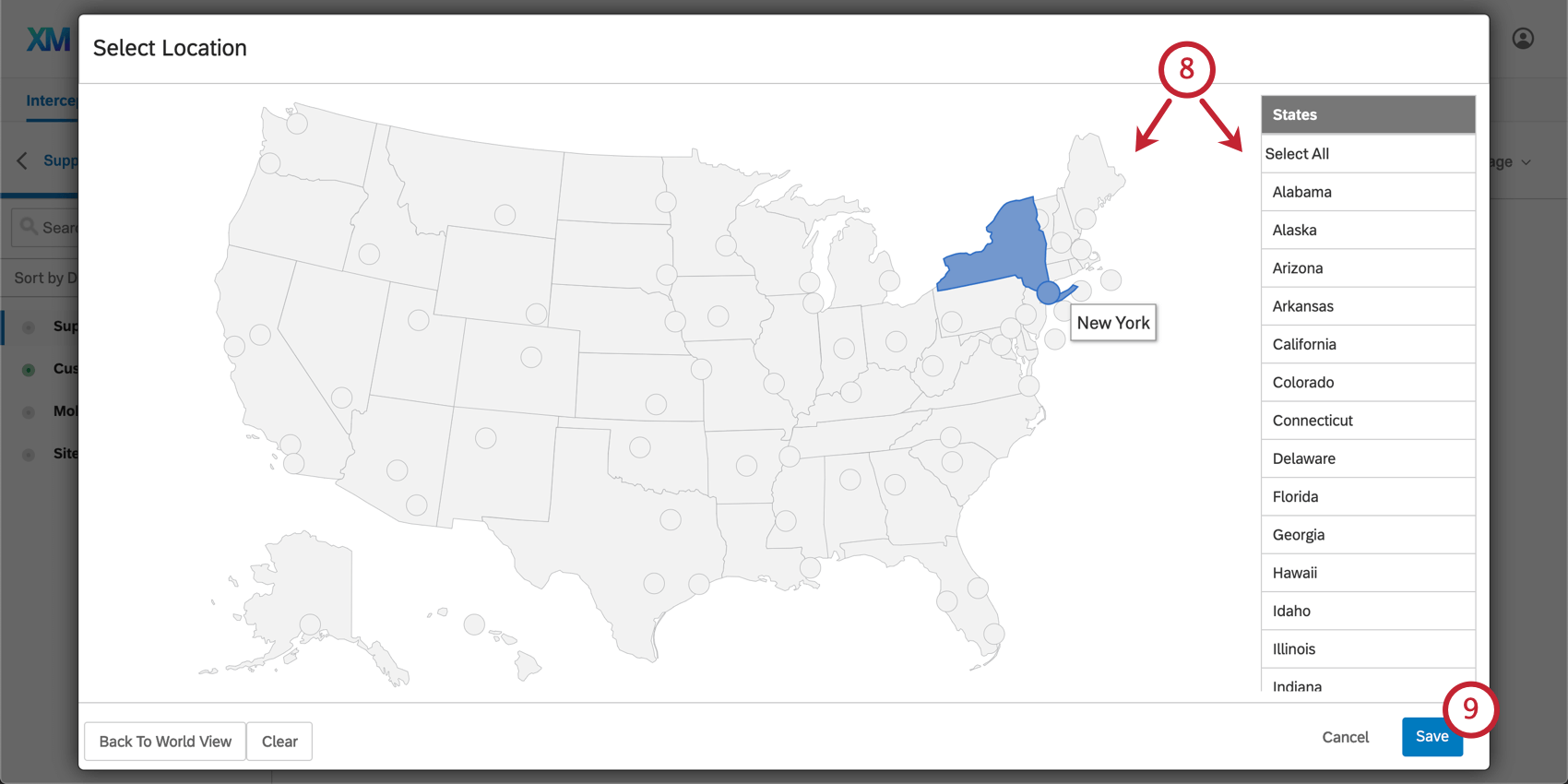 Grey-toned map of the United States with blue Save button on bottom-right