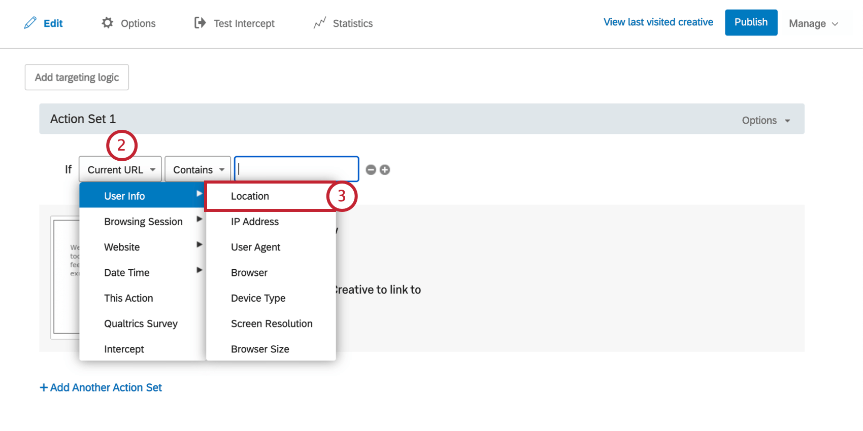 First dropdown is expanded. User Info is highlighted in the menu, with option IP Address indicated