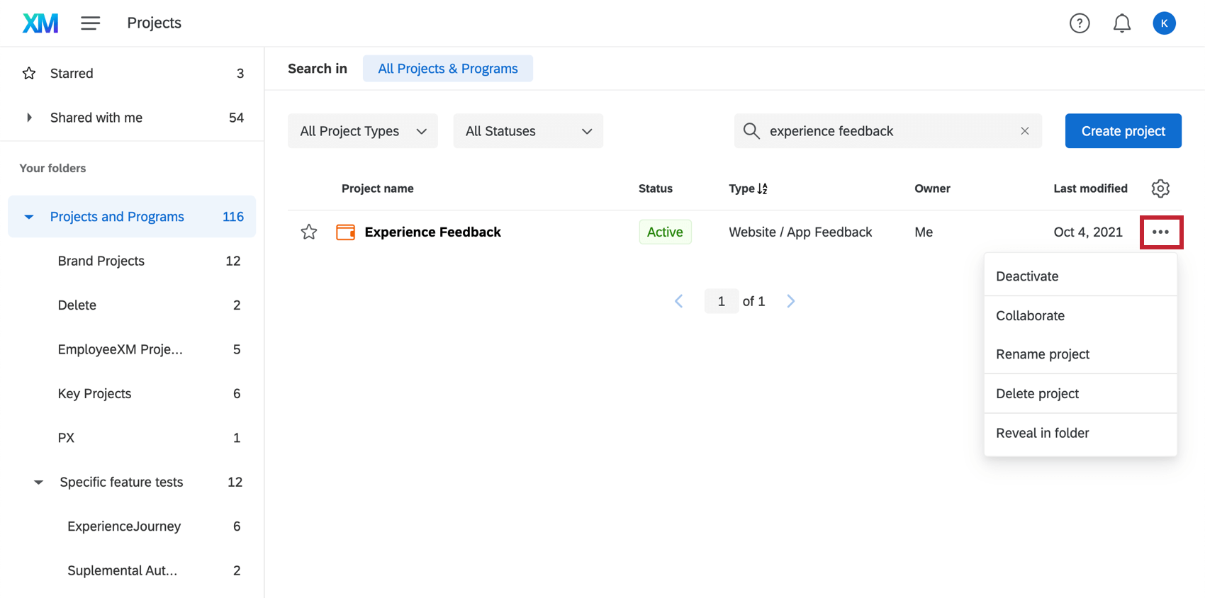 Dropdown menu next to a Website / App Feedback project