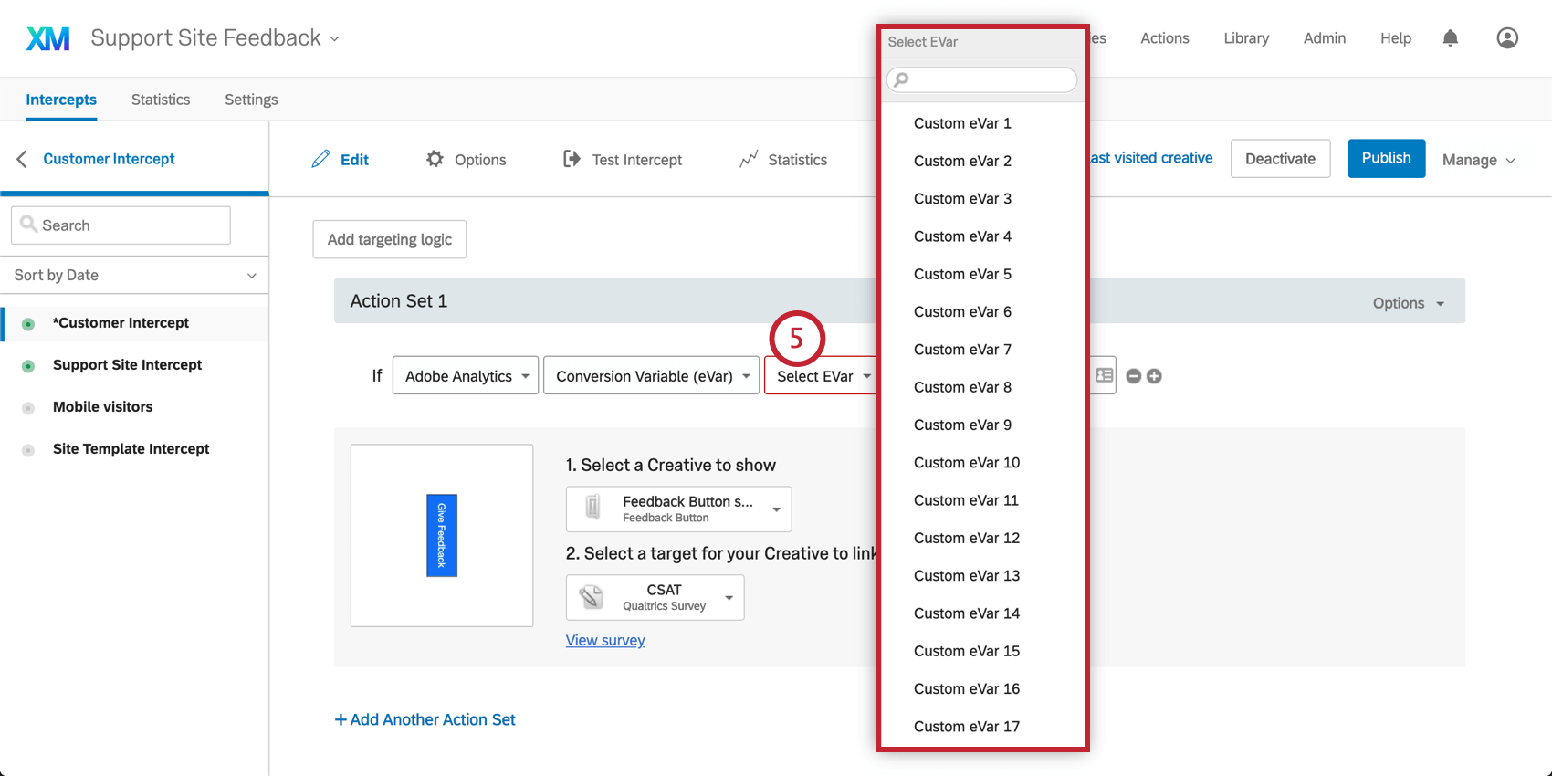 Selecting a Custom Variable form the third dropdown in adobe analytics logic