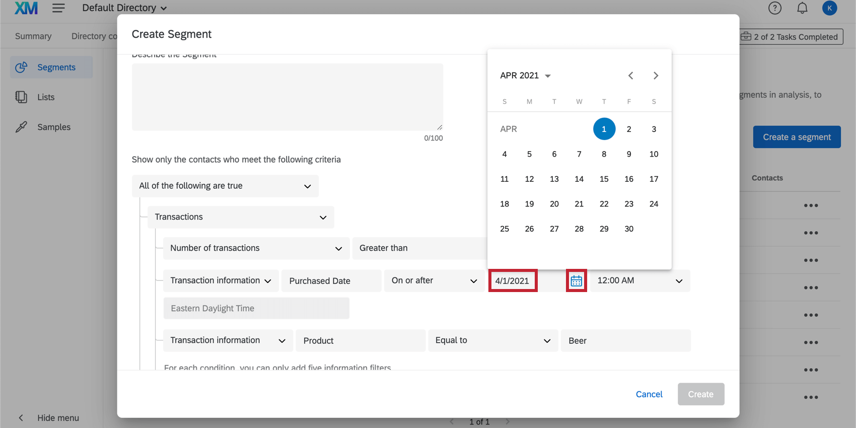Indication of where to modify the date; option to click on the date and type it in or click on the calendar icon.