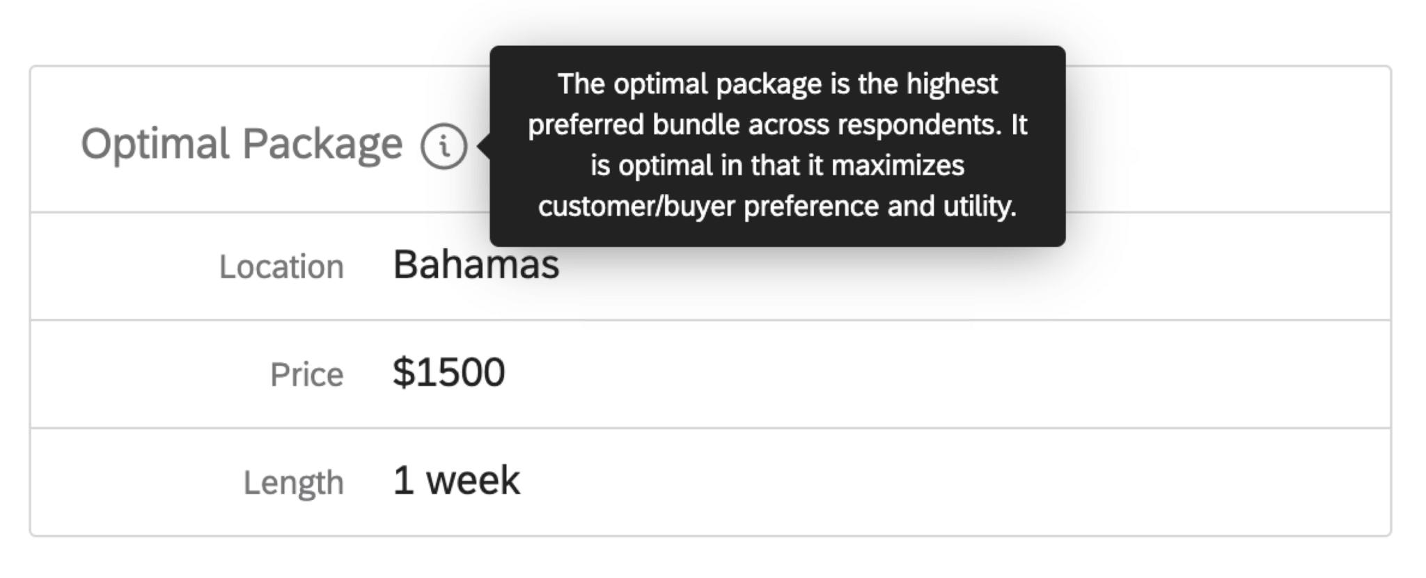 Tooltip describing optimal package