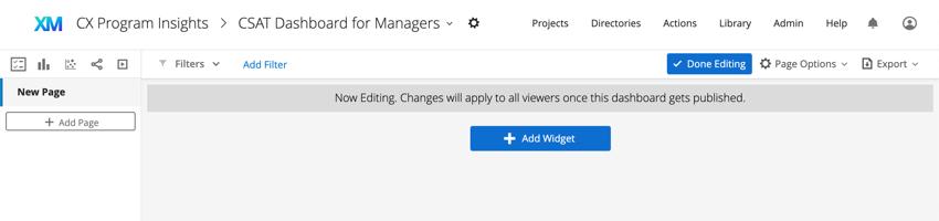 Editing mode. Done editing button blue upper-right, add widget button green bottom center