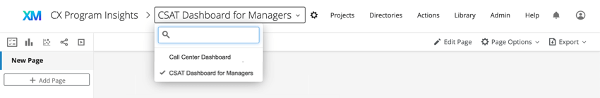 Dropdown list of dashboards inside the project