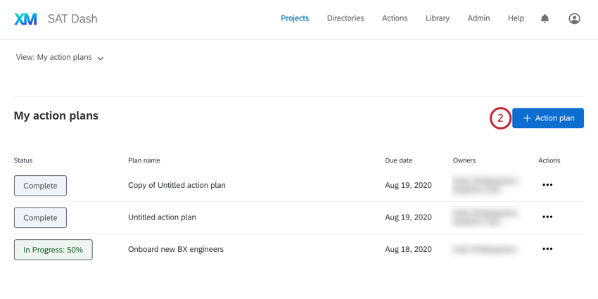 Action plan button in upper-right of action planning page