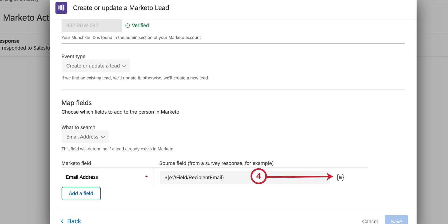 using the piped text menu to select a field