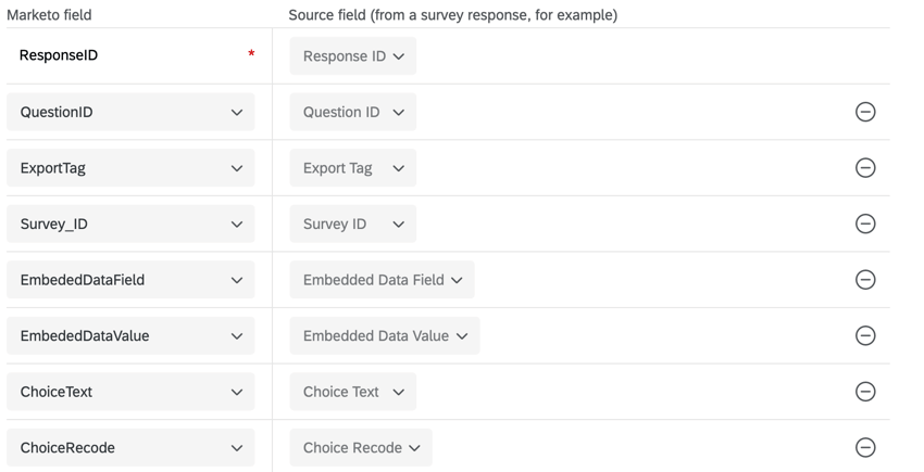 an example field mapping with each marketo field corresponding to a source field