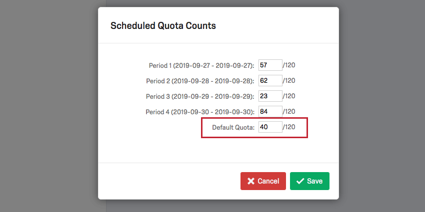 image of the set counts screen with the default quota highlighted
