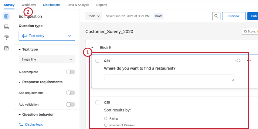 creating the survey and navigating to workflows
