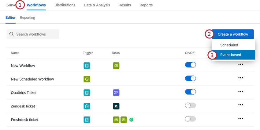 choosing create a new workflow and then event based