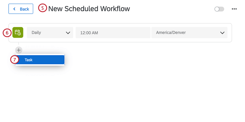 creating the workflow schedule, renaming the workflow, and adding a task