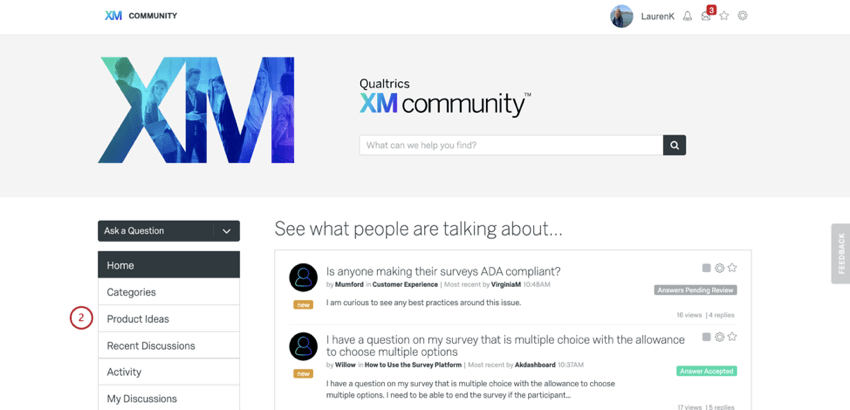 Product ideas button to upper-left on community homepage