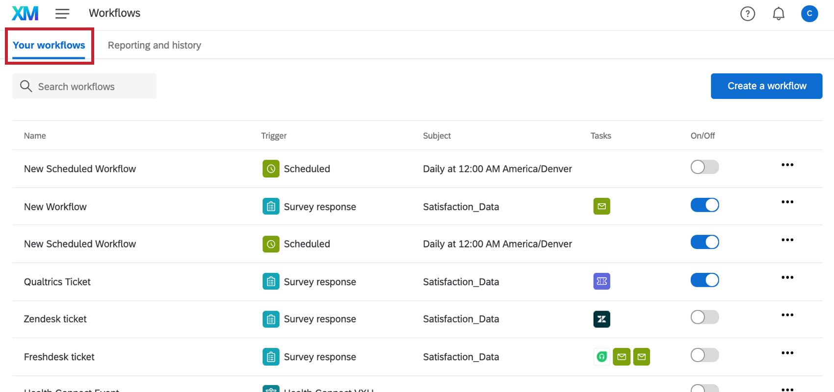 the your workflows section of global workflows