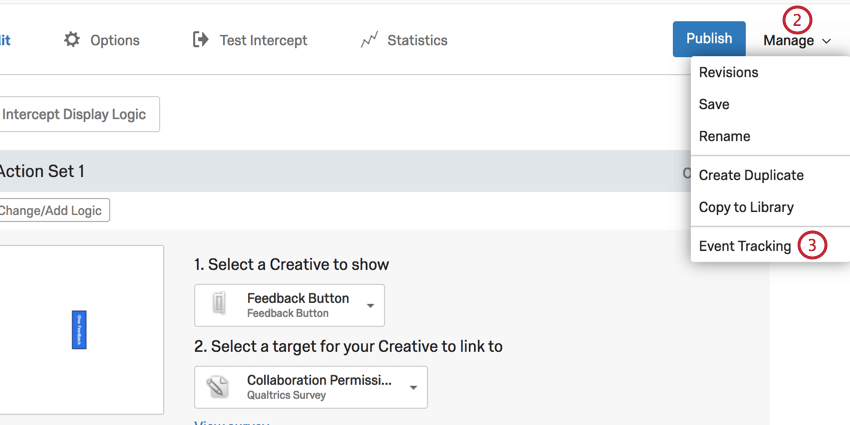 image of the manage and event tracking options in the intercept tab