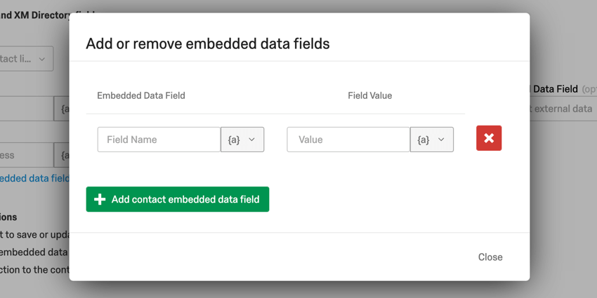 image of the add or remove embedded data fields window