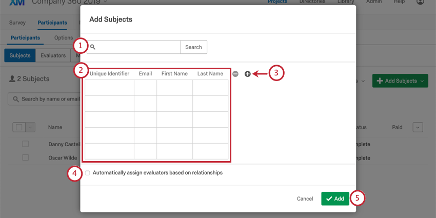Adding Subjects manually in the Add Subjects pop up window