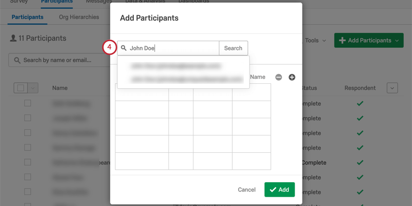 Add Participants window with search bar