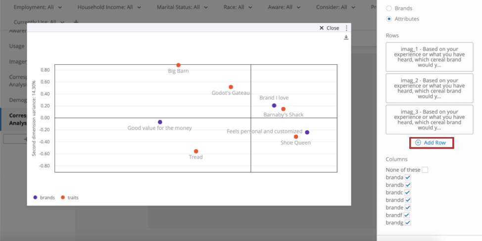 Widget looks like a plot covered in orange and purple dots. On the right in the widget editing pane, you'll see an Add Row button