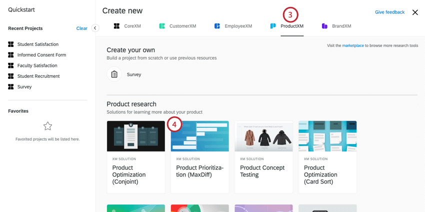 Product Experience selected on top, project selected in center with dark picture icon
