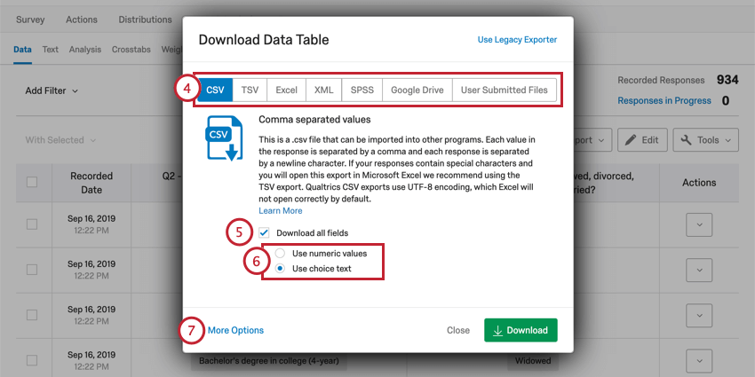 Download Data Table menu with format options and the Download button