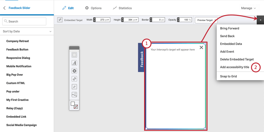 Right-clicking on a Feedback Slider's iframe