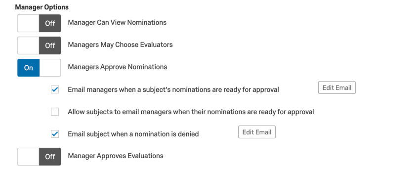 Manager approves nominations option back at the top of the options page