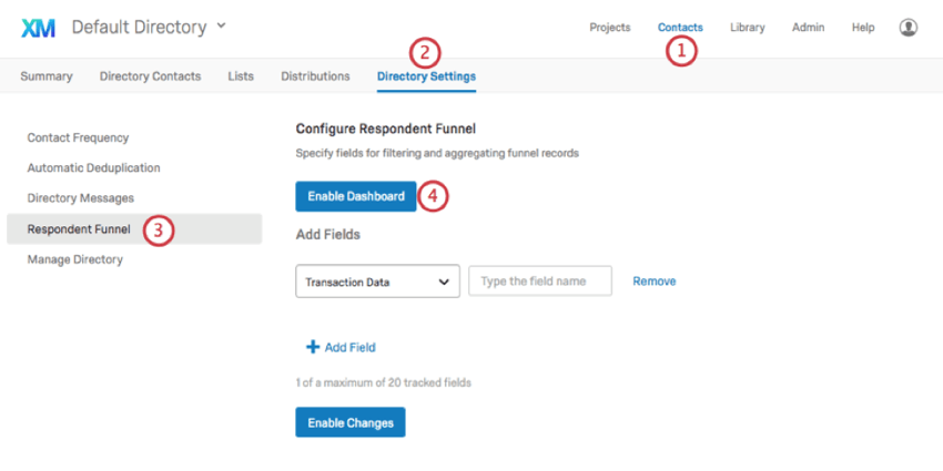 In Directory Settings of contacts, select Respondent Funnel to the left. Buttons for enabling the funnel