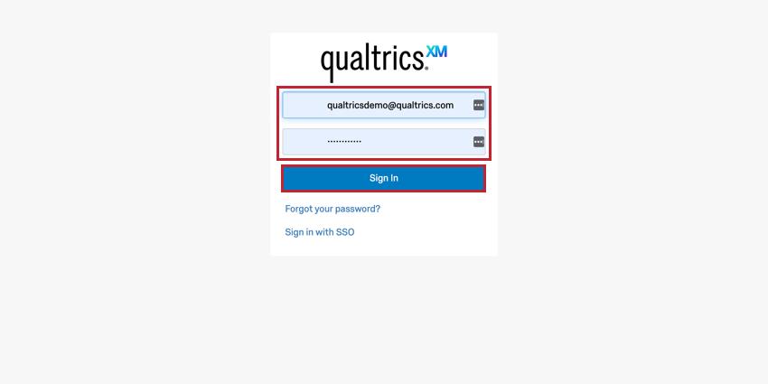 Standard Qualtrics login page