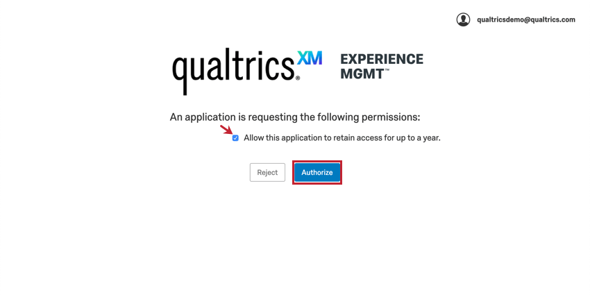 Middle of page is authorization checkbox; below in blue is authorize button
