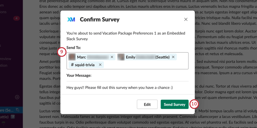 window for editing recipients and confirming selections