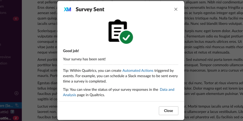 Survey sent confirmation window. Has a couple of tips