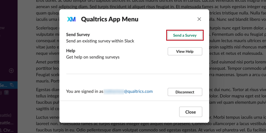 Send a survey button in green in upper-right of the new qualtrics window in slack