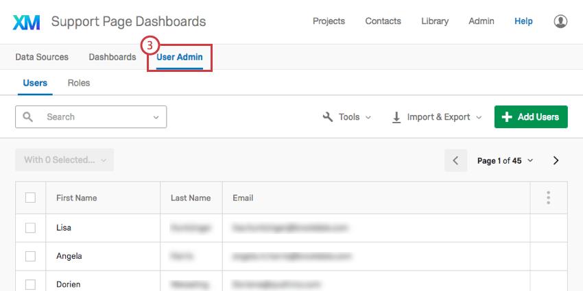User Admin tab