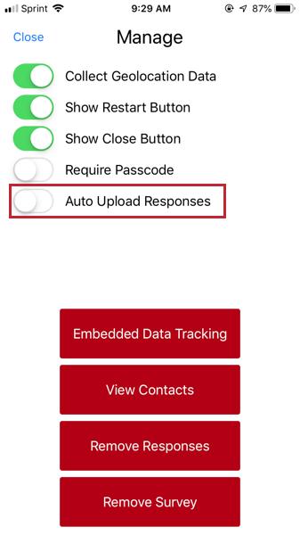 image of the auto upload responses option