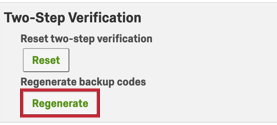 image of the regenerate button for regenerating backup codes in account settings