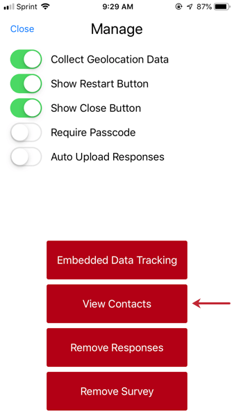 """image of the manage settings with """"view contacts"""" called out"""