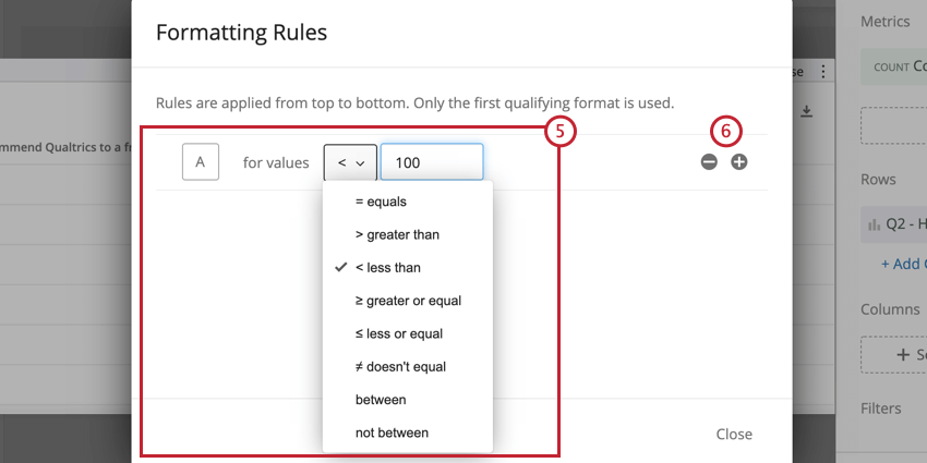image of the formatting rules editor screen