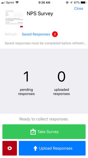 image of the survey screen in the offline app