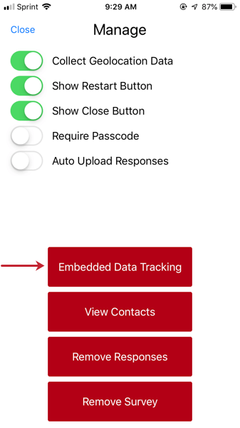 image of the embedded data tracking button