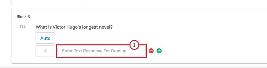 a scoring box and a field for the correct text entry question
