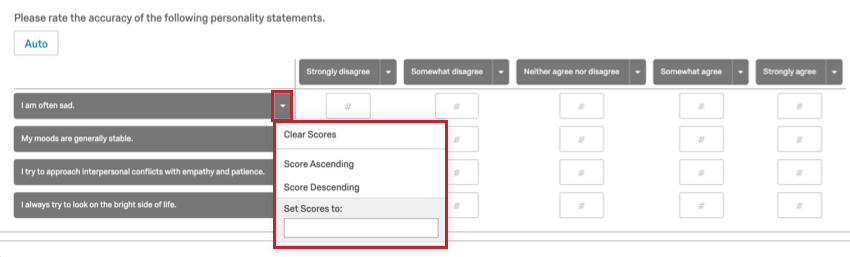 A personality assessment matrix. Dropdown next to first statement expanded to show options