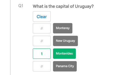 A question that asks what the capital of Uruguay is. All answers are grayed out with no value, except Montevideo, which is green with 1 point, and is the correct answer