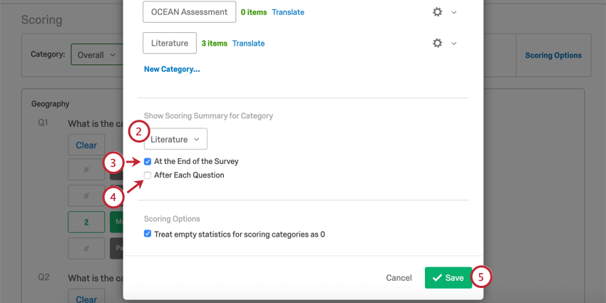 """Scrolling to bottom of scoring options window that opens, where it says """"show scoring category summary,"""" you can find the fields described in these steps"""