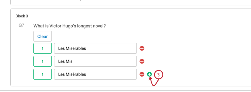 plus sign allowing another correct text field to be added to the text entry question's list of answers