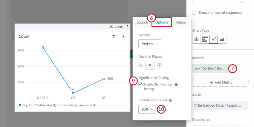 image of enabling significance testing in the options menu of a simple chart widget's metric