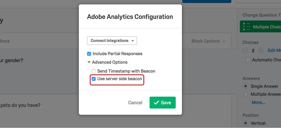 Use server side beacon on bottom highlighted