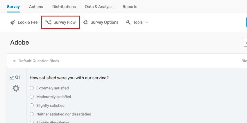 Survey Flow button top of survey