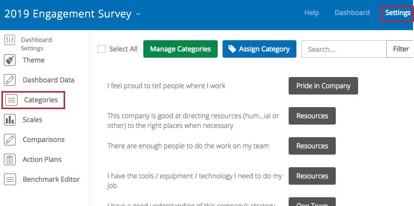 image of the categories tab