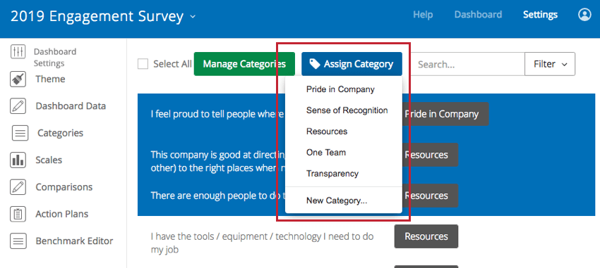 image of the assign category button with categories already available and the option to create a new category