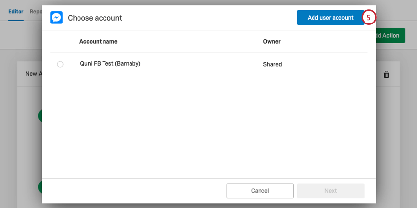 Add user account button in blue, upper-right